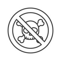 Forbidden sign with skull and crossbones linear icon. No chemical weapon prohibition. Danger thin line illustration. Stop contour symbol. Vector isolated outline drawing