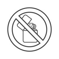 Forbidden sign with flip lighter linear icon. No smoking prohibition. Thin line illustration. Stop contour symbol. Vector isolated outline drawing.