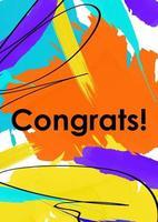 Congrats message abstract postcard template vector