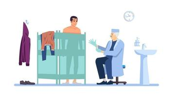 Visiting clinic flat vector illustration. Male patient, doctor isolated cartoon characters on white background. Medical check, exam. Surgeon physician, proctologist cabinet. Healthcare, treatment