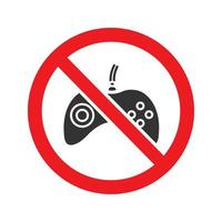 Forbidden sign with gamepad glyph icon. Stop silhouette symbol. No video games prohibition. Negative space. Vector isolated illustration