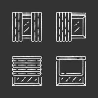 Window coverings and curtains chalk icons set. Panel pair, tracks, pleated blinds, roller shades. Living room decoration. Interior design, home decor shop. Isolated vector chalkboard illustrations