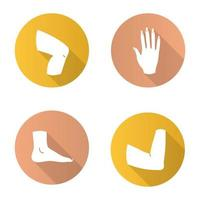Conjunto de iconos de glifo de larga sombra de diseño plano de partes del cuerpo. rodilla, mano, pie, articulación del codo. ilustración de silueta de vector