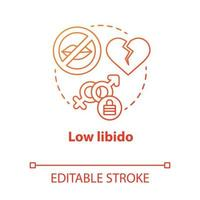 Low libido concept icon. Treason. Lack of physical contact. Slowing down sex life. Fear of intimacy after failure idea thin line illustration. Vector isolated outline drawing. Editable stroke