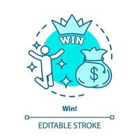 Win concept icon. Jackpot, success idea thin line illustration. Lottery, casino victory. Winner, champion. Sack of money prize. Good luck and fortune. Vector isolated outline drawing. Editable stroke