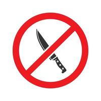 Forbidden sign with knife glyph icon. Stop silhouette symbol. No weapon prohibition. Negative space. Vector isolated illustration