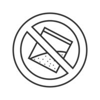 Forbidden sign with bag of powder linear icon. Thin line illustration. No drugs prohibition. Stop contour symbol. Vector isolated outline drawing