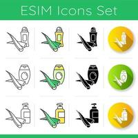 Aloe vera icons set. Organic deodorant. Natural antiperpirant. Shampoo with medicinal herbs. Cream and lotion in bottle. Linear, black and RGB color styles. Isolated vector illustrations