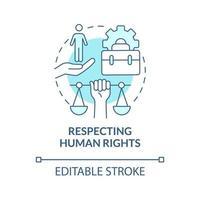 respetando los derechos humanos concepto icono azul vector