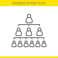 Company hierarchy concept linear icon. Leadership thin line illustration. Organization structure contour symbol. Vector isolated outline drawing