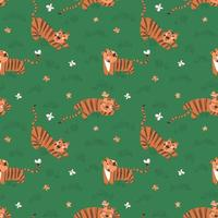 Seamless pattern with simple cute tiger cubs and butterflies on a green grass background vector