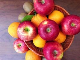 Fruit on wooden background video