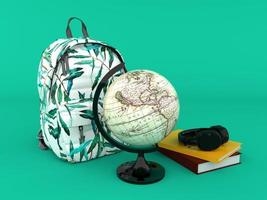 Back to school with backpack wold globe books and headphones 3d render photo