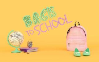 Girl Pink backpack in yellow background wiht books world globe and shoes 3d render photo