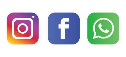 Social media facebook instagram logos, Social media icons black and white set vector