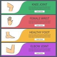 Conjunto de plantillas de banner web de partes del cuerpo. rodilla, mano de mujer, pie, articulación del codo. elementos del menú de color del sitio web. conceptos de diseño de encabezados vectoriales vector