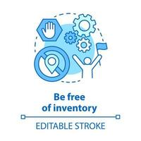 Be free of inventory blue concept icon. Supply chain management idea thin line illustration. Online trading. Direct delivery. Dropshipping service. Vector isolated outline drawing. Editable stroke