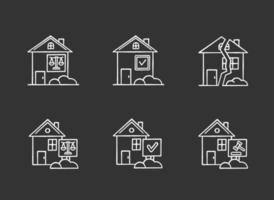Real estate matters chalk white icons set on black background. Tenancy legal dispute. Property litigation, court case. Realty trial. Lease agreement, contract. Isolated vector chalkboard illustrations