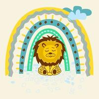 Cute lion and rainbow. Vector illustration. Use this clipart to create baby shower invites, nursery art, birthday decor, greeting cards, children's clothing.