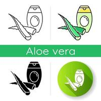 Aloe vera shampoo icon. Plant based body lotion. Moisturizer with herbs for moisturizing. Skincare treatment and dermatology. Linear black and RGB color styles. Isolated vector illustrations