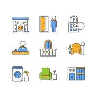 Conjunto de iconos de colores de servicios de apartamento. Recepción central, portero, salón para residentes, lobby bar. laundry, edificio gym, balcon, conserje. cerradura de combinación, chimenea. ilustraciones vectoriales aisladas vector