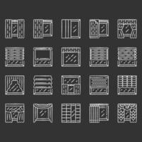 Window treatments and curtains chalk icons set. Roman shades, blinds, valance, panel, shutters. Room darkening. Interior design, home decor shop. Isolated vector chalkboard illustrations