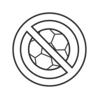 Forbidden sign with football ball linear icon. No ball games prohibition. Thin line illustration. Stop contour symbol. Vector isolated outline drawing