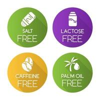 Product free ingredient flat design long shadow glyph icons set. No salt, lactose, caffeine, palm oil. Healthy organic food. Dietary without allergens. Balanced meals. Vector silhouette illustration