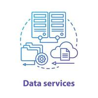 Data services concept icon. Managing user information idea thin line illustration. Databases and data servers. Files uploading on cloud. Application management. Vector isolated outline drawing