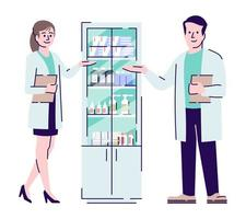 Pharmacists colleagues flat vector characters. Pharmacy sellers, druggists standing near medications cupboard cartoon illustration. Drugstore workers. Pharmacologist, chemist isolated on white