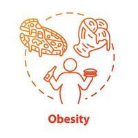 icono del concepto de obesidad. Hábitos alimenticios poco saludables. persona con sobrepeso. calorías de la comida rápida. problema de peso. Ilustración de línea fina de idea de consumo excesivo. Vector contorno aislado dibujo a color rgb