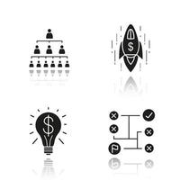 Business concepts drop shadow black icons set. Company hierarchy, problems solving, successful idea and spaceship. Isolated vector illustrations