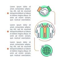 Community, contract agreement, deal article page vector template. Brochure, magazine, booklet design element with linear icons and text boxes. Print design. Concept illustrations with text space