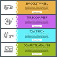 Auto workshop web banner templates set vector