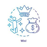 Win concept icon. Jackpot, success idea thin line illustration. Lottery, casino victory. Winner, champion. Sack of money prize. Good luck and fortune. Vector isolated outline drawing