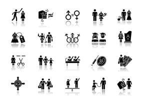 Conjunto de iconos de glifos negros de sombra paralela de igualdad de género. mujer, hombre correcto. esclavitud sexual. actividad económica femenina. personas transgénero. empleo, política. planificación familiar. ilustraciones vectoriales aisladas vector