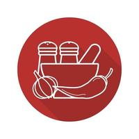 Spices flat linear long shadow icon. Salt and pepper shakers, garlic, chili, mortar and pestle. Vector line symbol