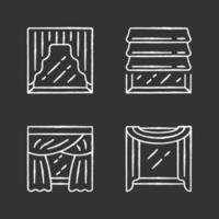 Window drapes chalk icons set. Roman shades, swags, priscilla curtains, window scarf. Home interior decor. Kitchen, bedroom, living room decoration. Isolated vector chalkboard illustrations