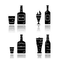 Drinks drop shadow black glyph icons set. Rum, absinthe, sambuca, beer. Bottles and beverages in glasses. Refreshment alcoholic liquid for party and celebration. Isolated vector illustrations