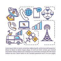 telecomunicaciones, plantilla de vector de página de artículo de la industria de radiodifusión. folleto, revista, elemento de diseño de folleto con iconos lineales y cuadros de texto. diseño de impresión. ilustraciones de concepto con espacio de texto