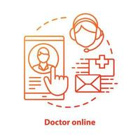 Doctor online concept icon. Internet physician service idea thin line illustration. Clinic, hospital call centre. Specialist smartphone app messenger. Vector isolated outline drawing. Editable stroke