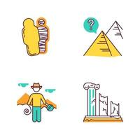 Archeology color icons set. Mummy in sarcophagus. Pyramids. Egyptian culture mysteries. Researcher in field. Column ruins. Broken pillars. History, culture. Isolated vector illustrations