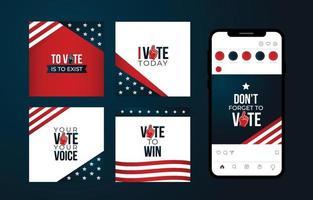publicación en las redes sociales de las elecciones de EE. UU. vector