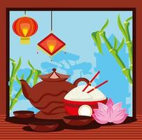 chinese traditional tea food vector
