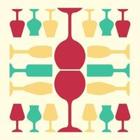 Glassware red, yellow and turquoise color icon. Restaurant service. Alcohol bar. Port and madeira glasses. Wineglasses. Strong drinks. Isolated vector illustration