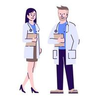 Doctors colleagues flat vector character. Therapists, general practitioners with stethoscopes cartoon illustration. Professional medical workers. Female medics, physicians couple isolated on white