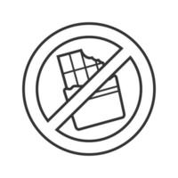 Forbidden sign with chocolate bar linear icon. Thin line illustration. No sweet food prohibition. Stop contour symbol. Vector isolated outline drawing