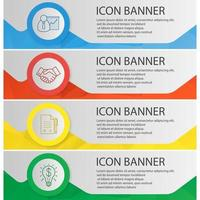 Business banner templates set. Easy to edit. Presentation, contract with pen, handshake, successful idea website menu items with linear icons. Color polygonal web banner concepts. Vector backgrounds