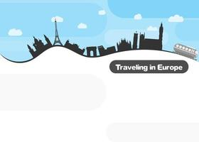 travel around Europe by train. flat style image vector