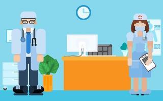 médico y enfermera del hospital. recepción de pacientes vector
